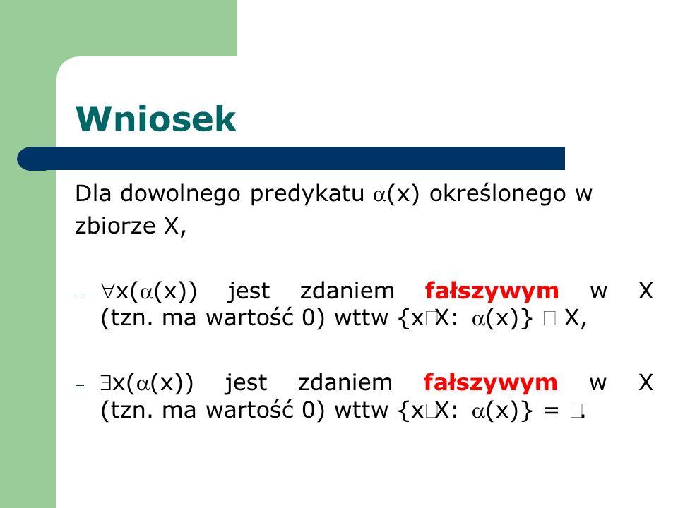Wniosek Dla dowolnego predykatu a(x) określonego w zbiorze X,