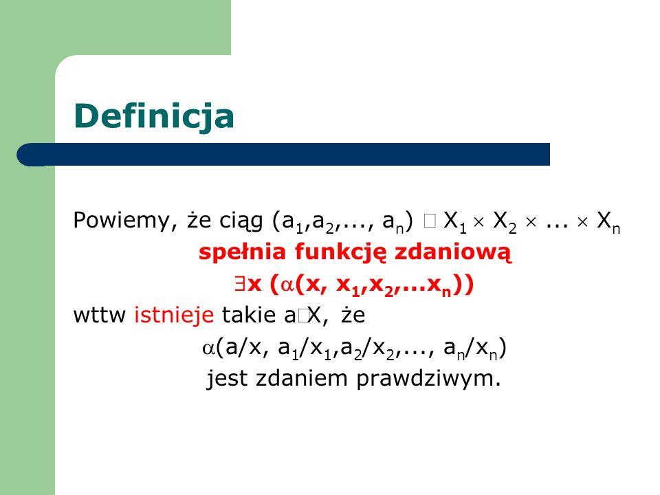 Definicja Powiemy, że ciąg (a1,a2,..., an) Î X1  X2  ...  Xn