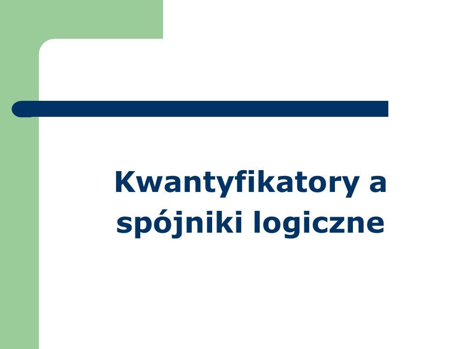 Kwantyfikatory a spójniki logiczne