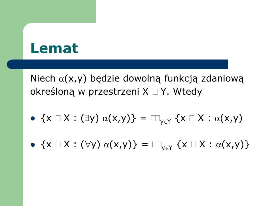 Lemat Niech a(x,y) będzie dowolną funkcją zdaniową
