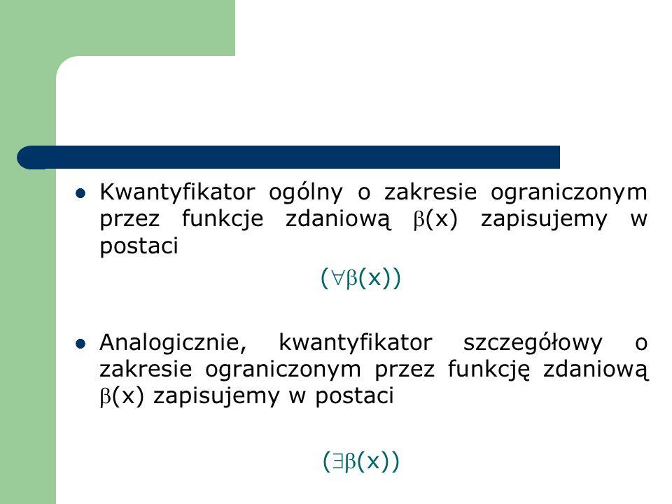 Kwantyfikator ogólny o zakresie ograniczonym przez funkcje zdaniową b(x) zapisujemy w postaci