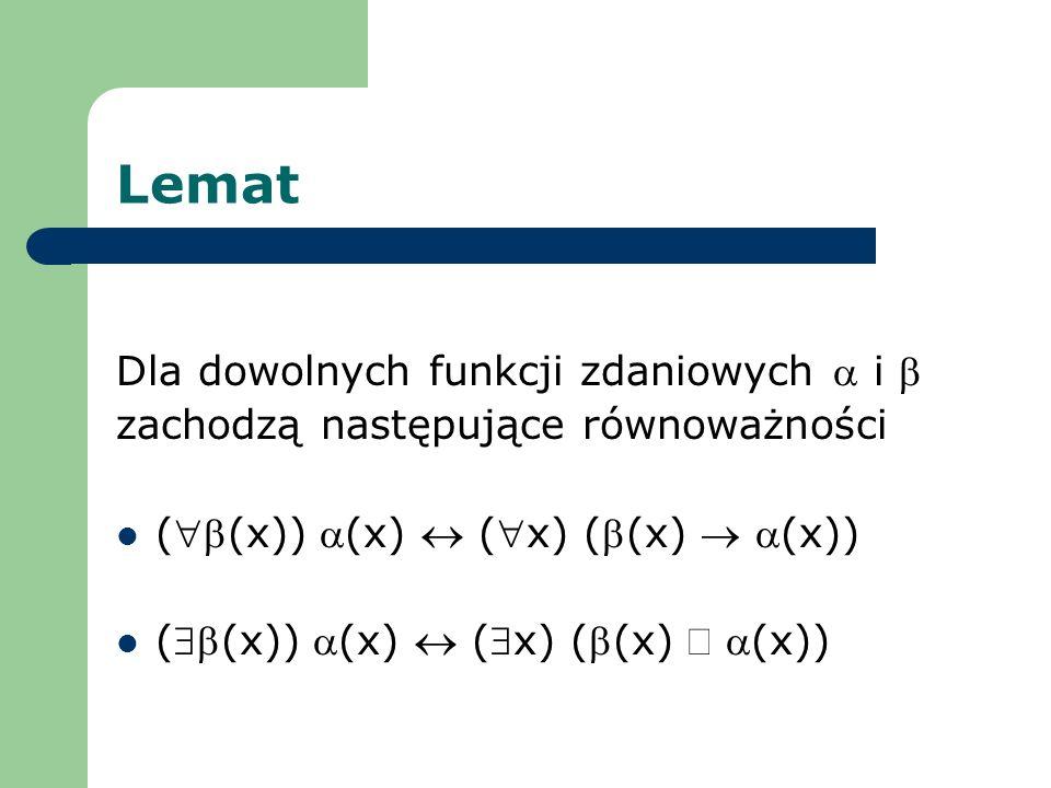 Lemat Dla dowolnych funkcji zdaniowych a i b
