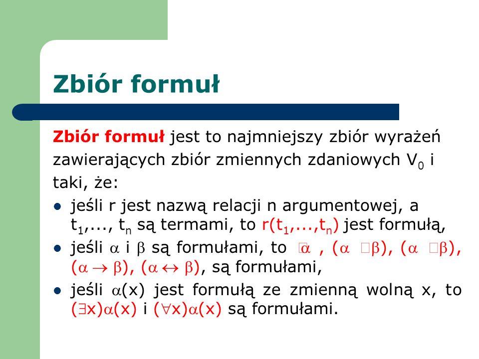 Zbiór formuł Zbiór formuł jest to najmniejszy zbiór wyrażeń