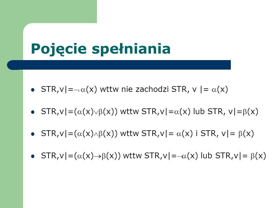 Pojęcie spełniania STR,v|=Ø a(x) wttw nie zachodzi STR, v |= a(x)