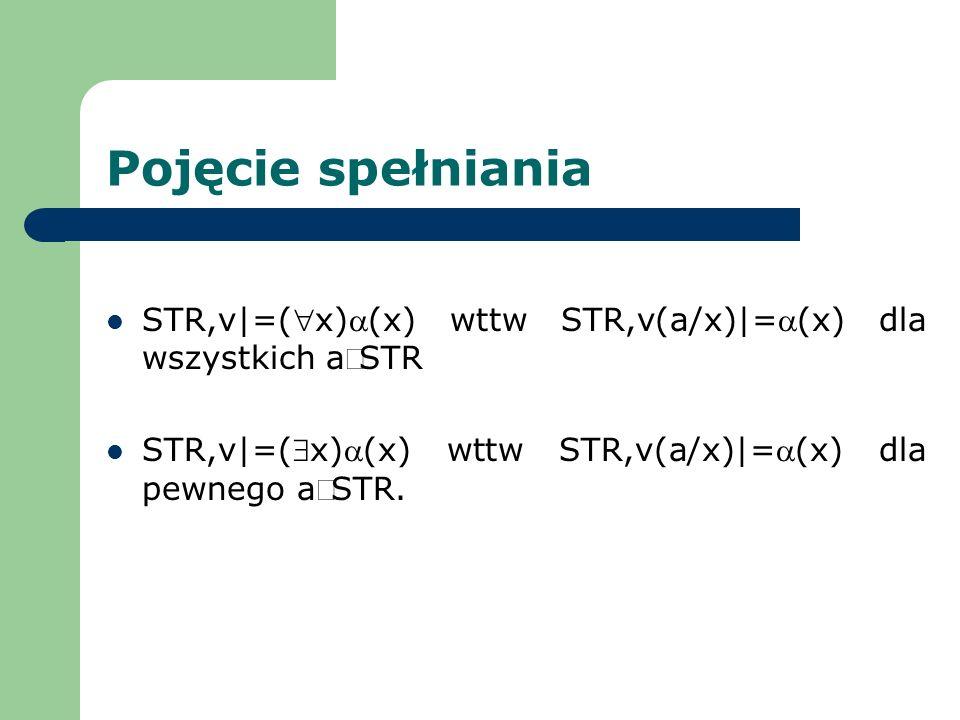 Pojęcie spełniania STR,v|=( x)a(x) wttw STR,v(a/x)|=a(x) dla wszystkich aÎSTR.
