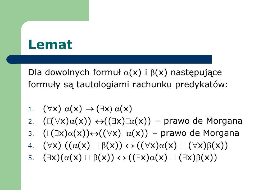 Lemat Dla dowolnych formuł a(x) i b(x) następujące
