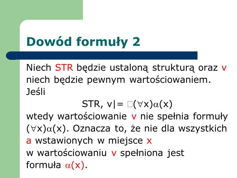 Dowód formuły 2 Niech STR będzie ustaloną strukturą oraz v