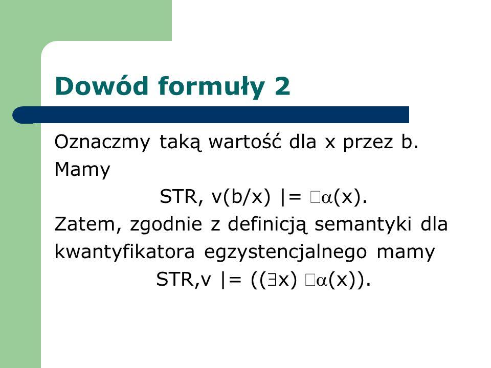 Dowód formuły 2 Oznaczmy taką wartość dla x przez b. Mamy