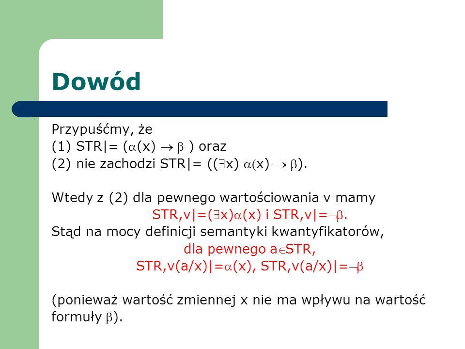 Dowód Przypuśćmy, że (1) STR|= (a(x) ® b ) oraz