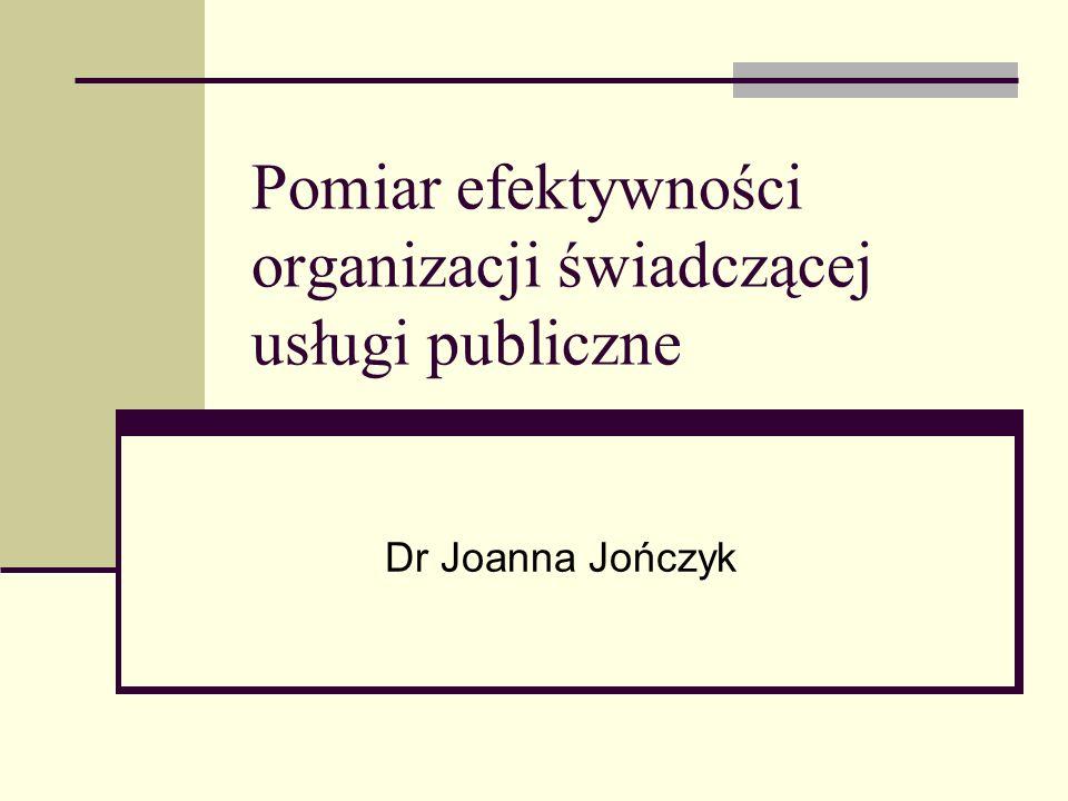 Pomiar efektywności organizacji świadczącej usługi publiczne