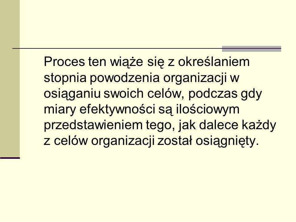 Proces ten wiąże się z określaniem stopnia powodzenia organizacji w osiąganiu swoich celów, podczas gdy miary efektywności są ilościowym przedstawieniem tego, jak dalece każdy z celów organizacji został osiągnięty.