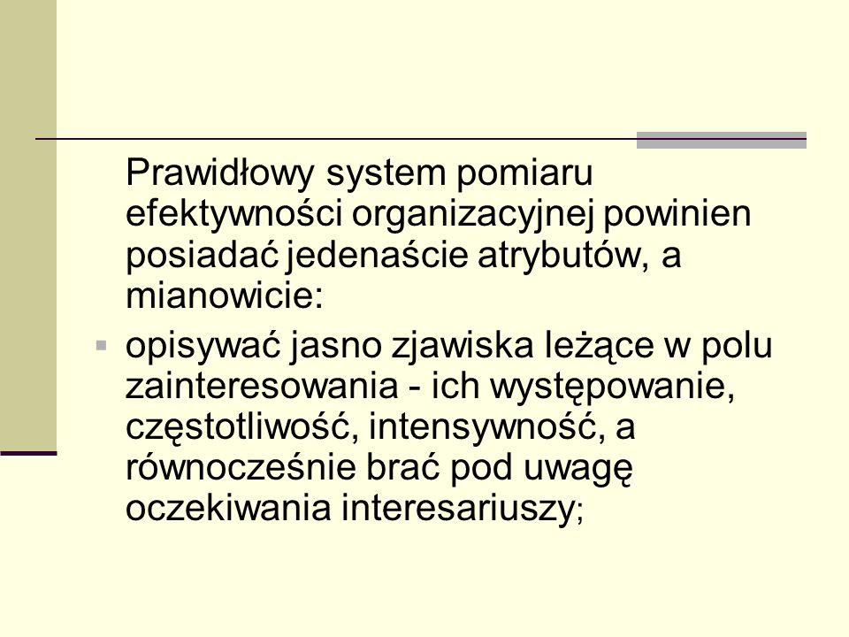 Prawidłowy system pomiaru efektywności organizacyjnej powinien posiadać jedenaście atrybutów, a mianowicie: