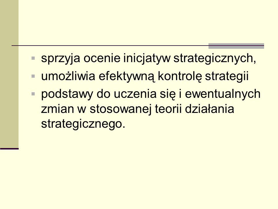 sprzyja ocenie inicjatyw strategicznych,