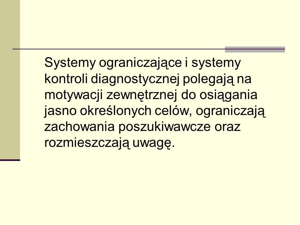 Systemy ograniczające i systemy kontroli diagnostycznej polegają na motywacji zewnętrznej do osiągania jasno określonych celów, ograniczają zachowania poszukiwawcze oraz rozmieszczają uwagę.