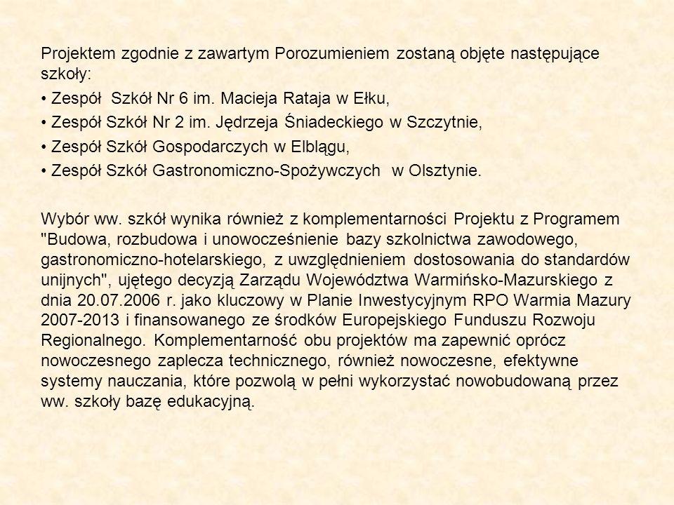 Projektem zgodnie z zawartym Porozumieniem zostaną objęte następujące szkoły: