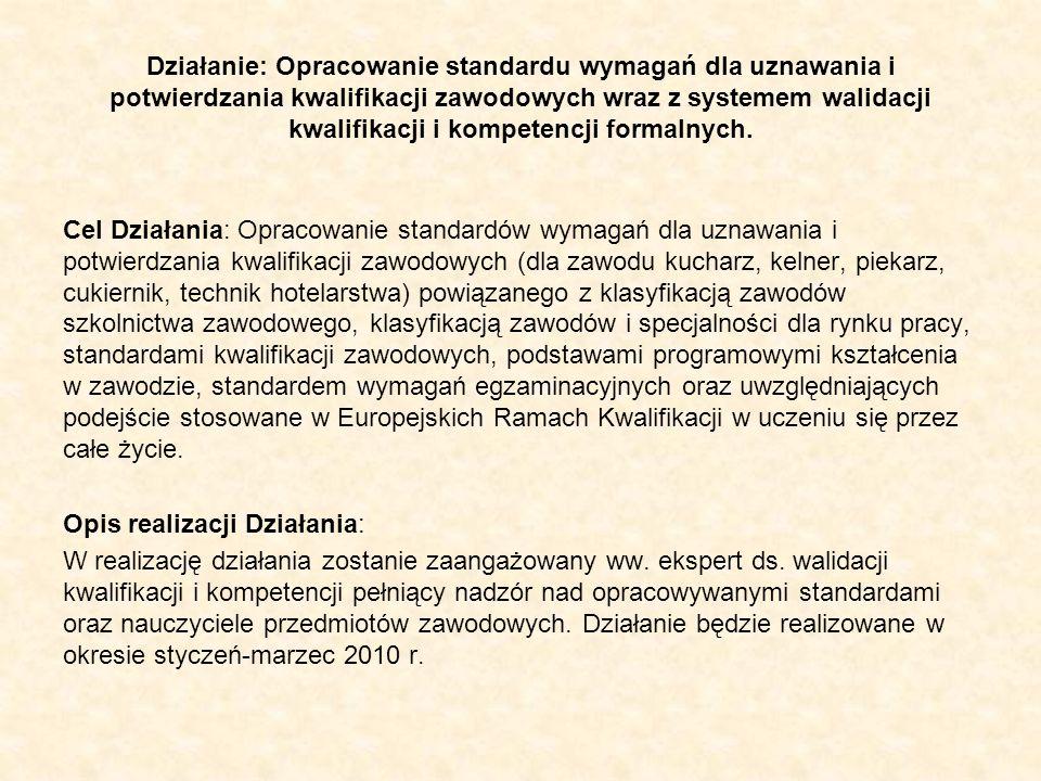 Działanie: Opracowanie standardu wymagań dla uznawania i potwierdzania kwalifikacji zawodowych wraz z systemem walidacji kwalifikacji i kompetencji formalnych.