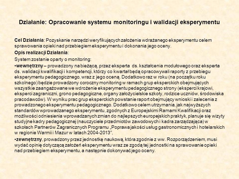 Działanie: Opracowanie systemu monitoringu i walidacji eksperymentu