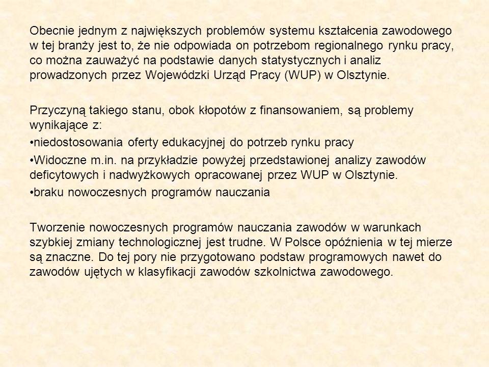 Obecnie jednym z największych problemów systemu kształcenia zawodowego w tej branży jest to, że nie odpowiada on potrzebom regionalnego rynku pracy, co można zauważyć na podstawie danych statystycznych i analiz prowadzonych przez Wojewódzki Urząd Pracy (WUP) w Olsztynie.
