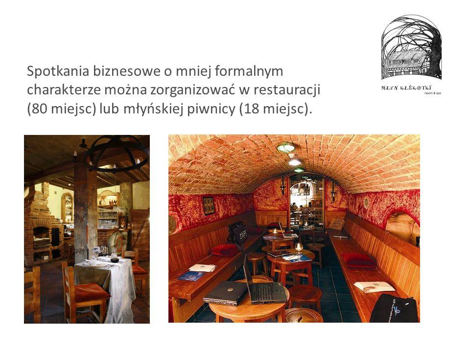 Spotkania biznesowe o mniej formalnym charakterze można zorganizować w restauracji (80 miejsc) lub młyńskiej piwnicy (18 miejsc).