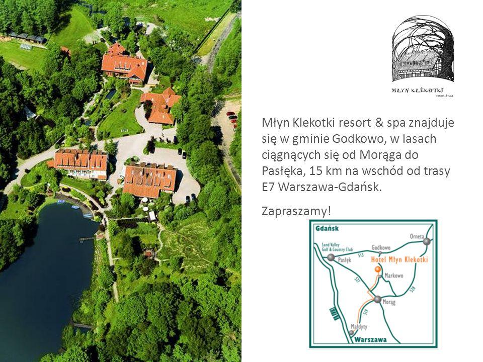 Młyn Klekotki resort & spa znajduje się w gminie Godkowo, w lasach ciągnących się od Morąga do Pasłęka, 15 km na wschód od trasy E7 Warszawa-Gdańsk.