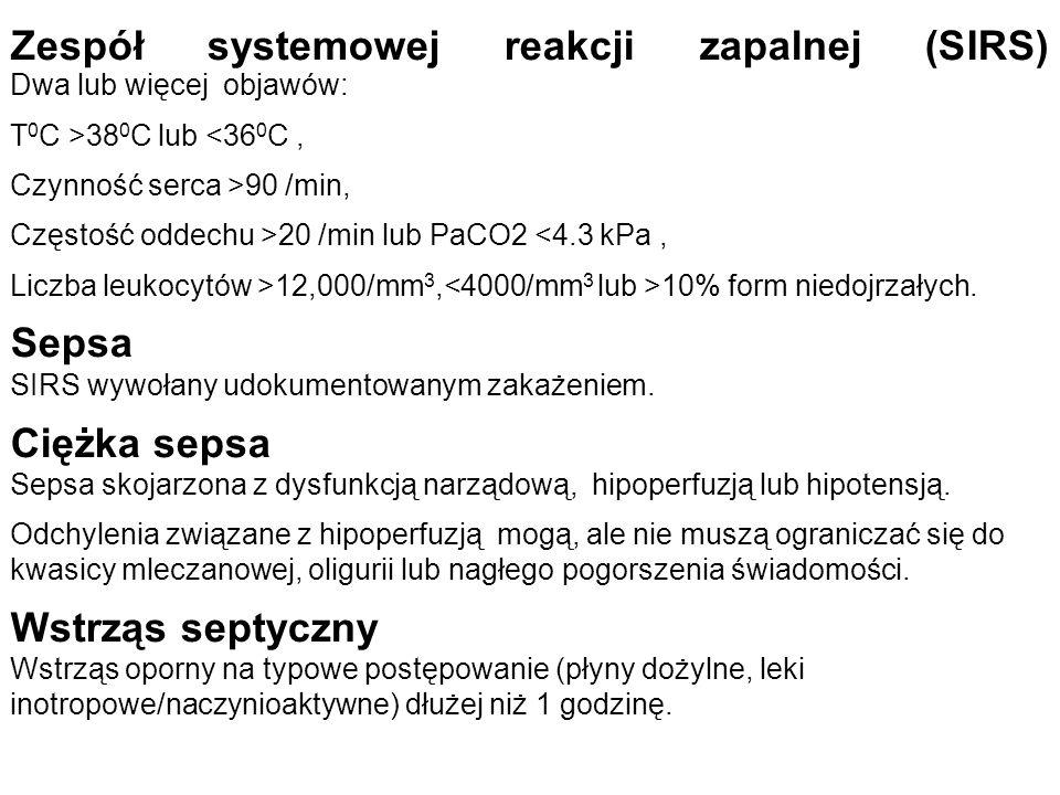 Zespół systemowej reakcji zapalnej (SIRS) Dwa lub więcej objawów: