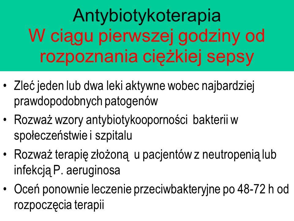 Antybiotykoterapia W ciągu pierwszej godziny od rozpoznania ciężkiej sepsy