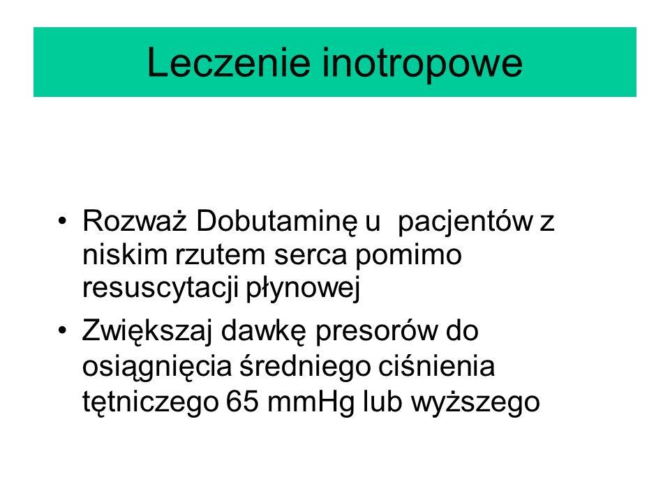 Leczenie inotropowe Rozważ Dobutaminę u pacjentów z niskim rzutem serca pomimo resuscytacji płynowej.