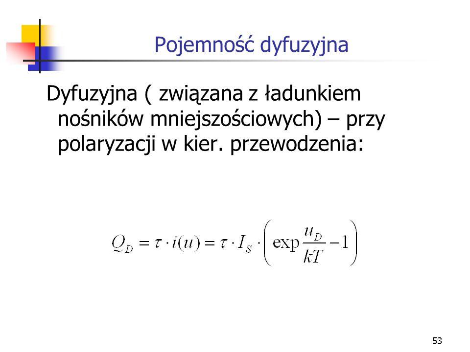 Pojemność dyfuzyjnaDyfuzyjna ( związana z ładunkiem nośników mniejszościowych) – przy polaryzacji w kier.