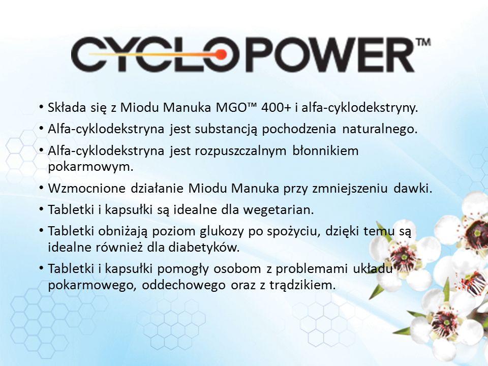 Składa się z Miodu Manuka MGO™ 400+ i alfa-cyklodekstryny.