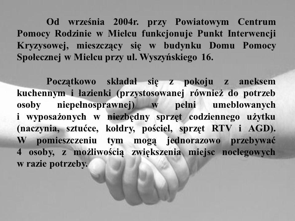 Od września 2004r. przy Powiatowym Centrum Pomocy Rodzinie w Mielcu funkcjonuje Punkt Interwencji Kryzysowej, mieszczący się w budynku Domu Pomocy Społecznej w Mielcu przy ul. Wyszyńskiego 16.