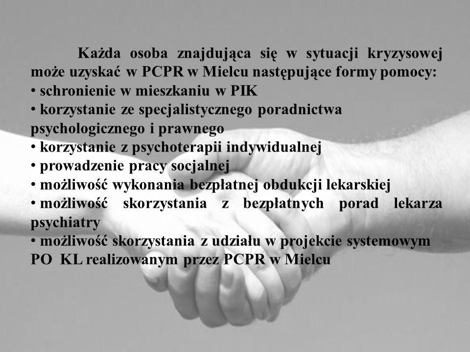 Każda osoba znajdująca się w sytuacji kryzysowej może uzyskać w PCPR w Mielcu następujące formy pomocy: