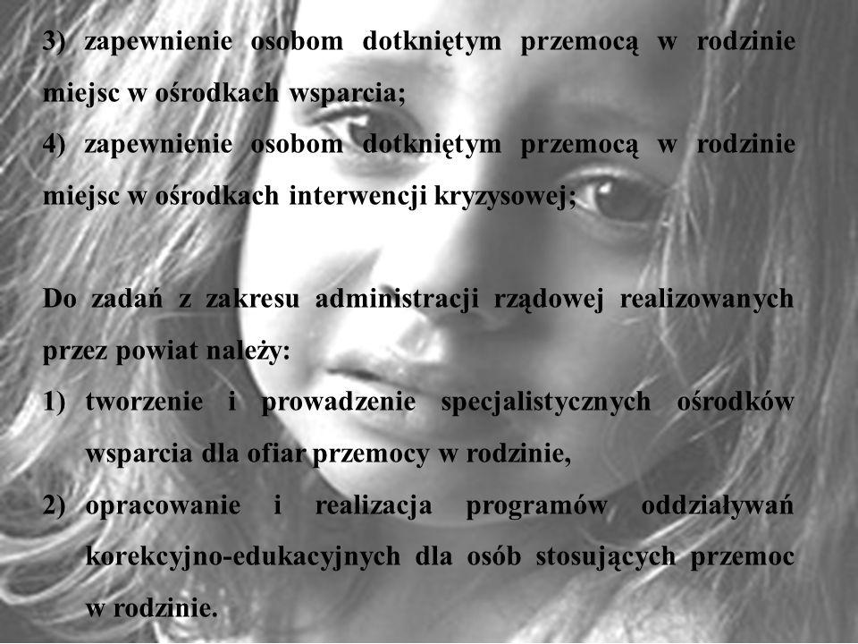 3) zapewnienie osobom dotkniętym przemocą w rodzinie miejsc w ośrodkach wsparcia;