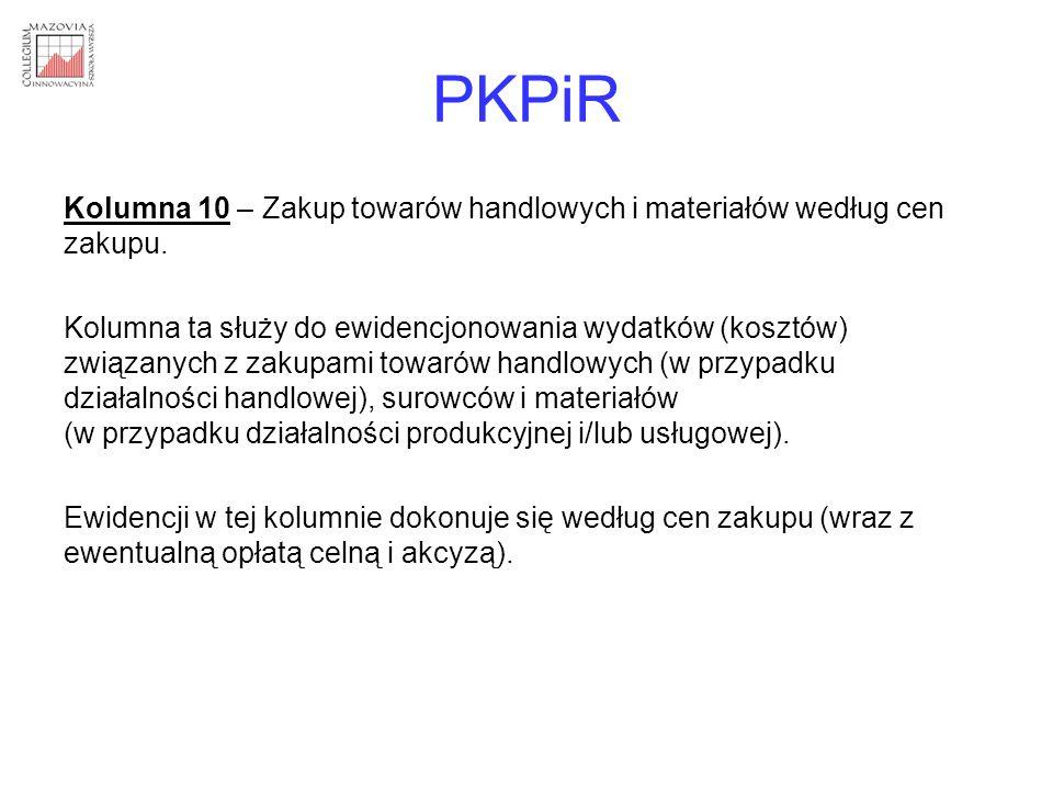 PKPiR Kolumna 10 – Zakup towarów handlowych i materiałów według cen zakupu.