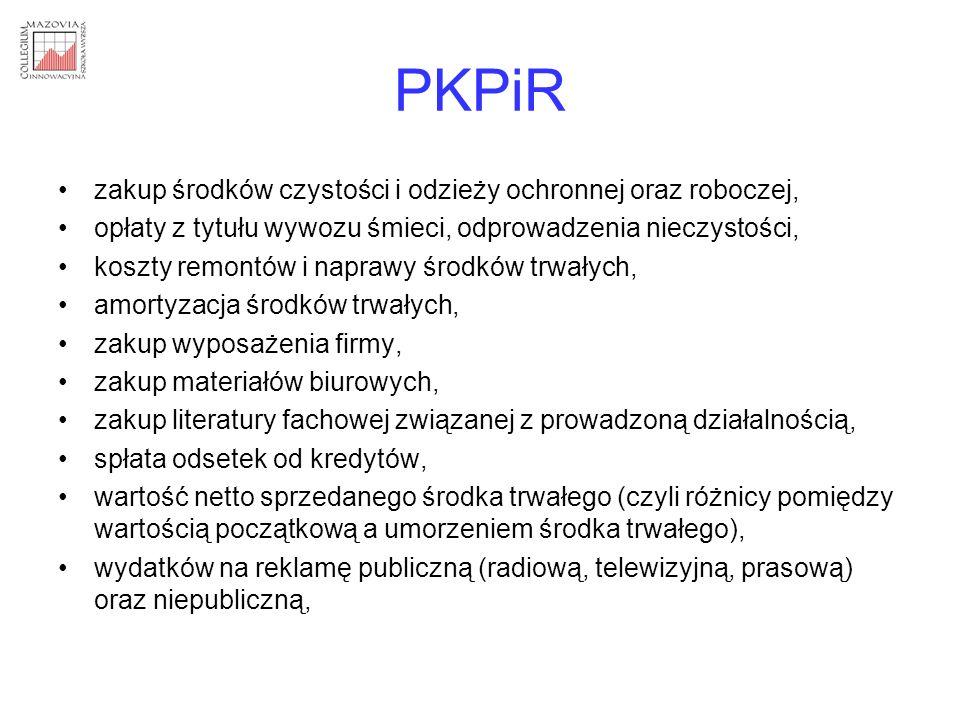 PKPiR zakup środków czystości i odzieży ochronnej oraz roboczej,