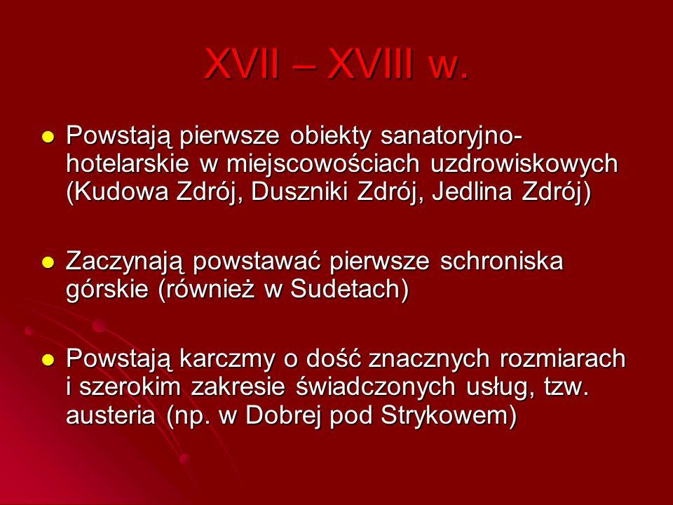 XVII – XVIII w. Powstają pierwsze obiekty sanatoryjno-hotelarskie w miejscowościach uzdrowiskowych (Kudowa Zdrój, Duszniki Zdrój, Jedlina Zdrój)