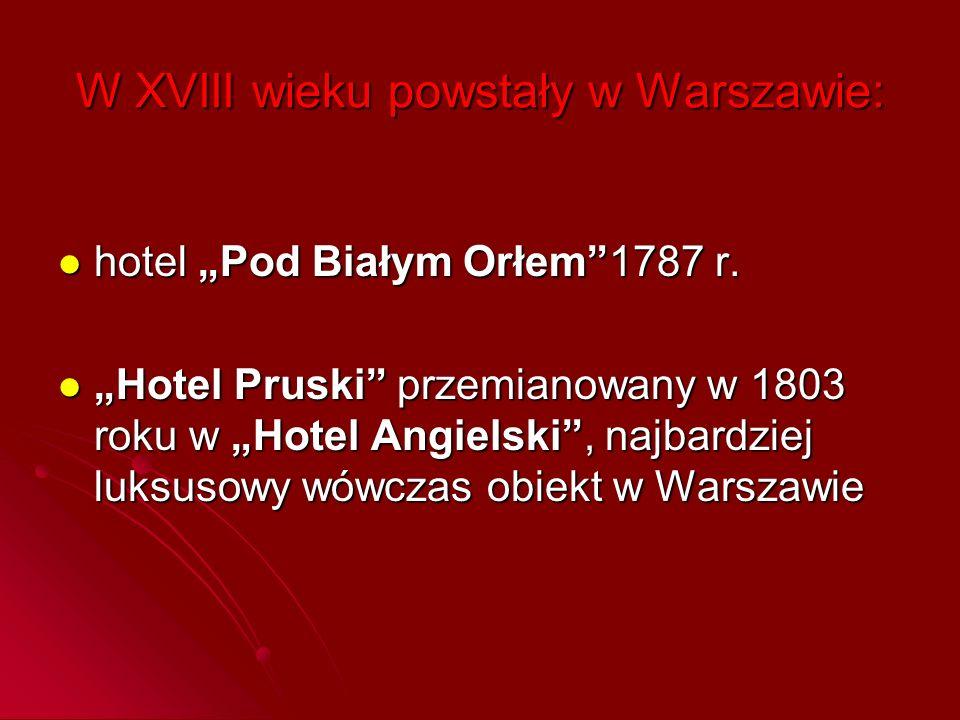 W XVIII wieku powstały w Warszawie: