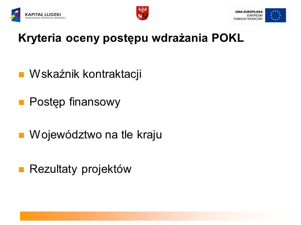 Kryteria oceny postępu wdrażania POKL