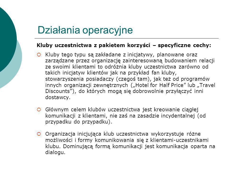 Działania operacyjne Kluby uczestnictwa z pakietem korzyści – specyficzne cechy: