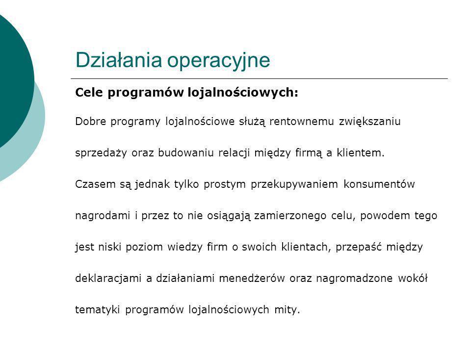 Działania operacyjne Cele programów lojalnościowych: