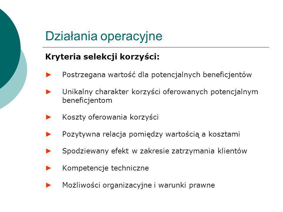Działania operacyjne Kryteria selekcji korzyści: