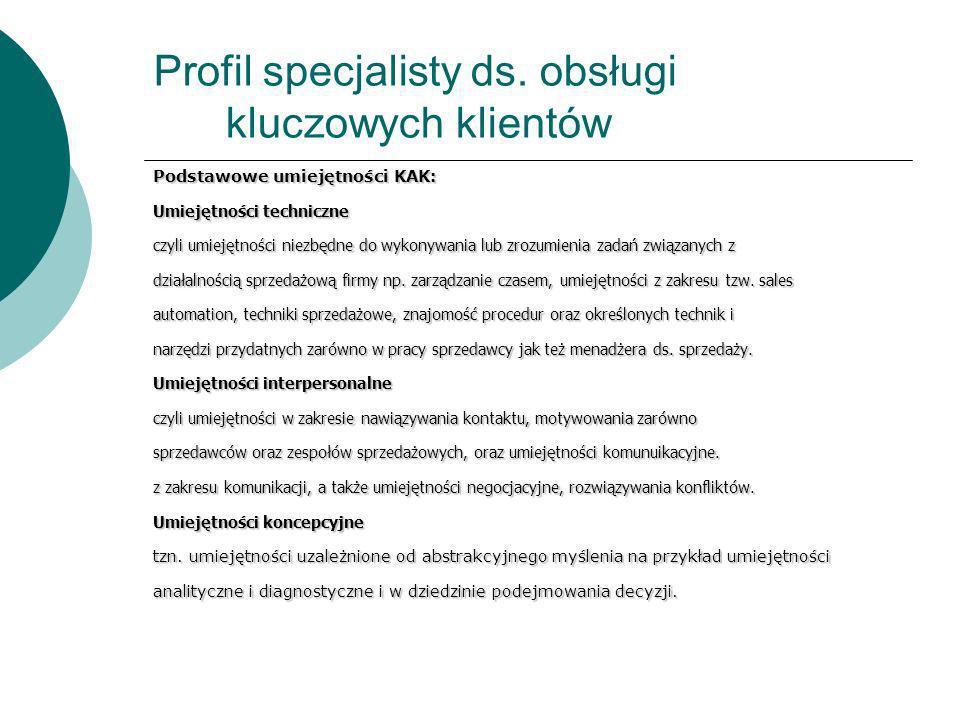 Profil specjalisty ds. obsługi kluczowych klientów