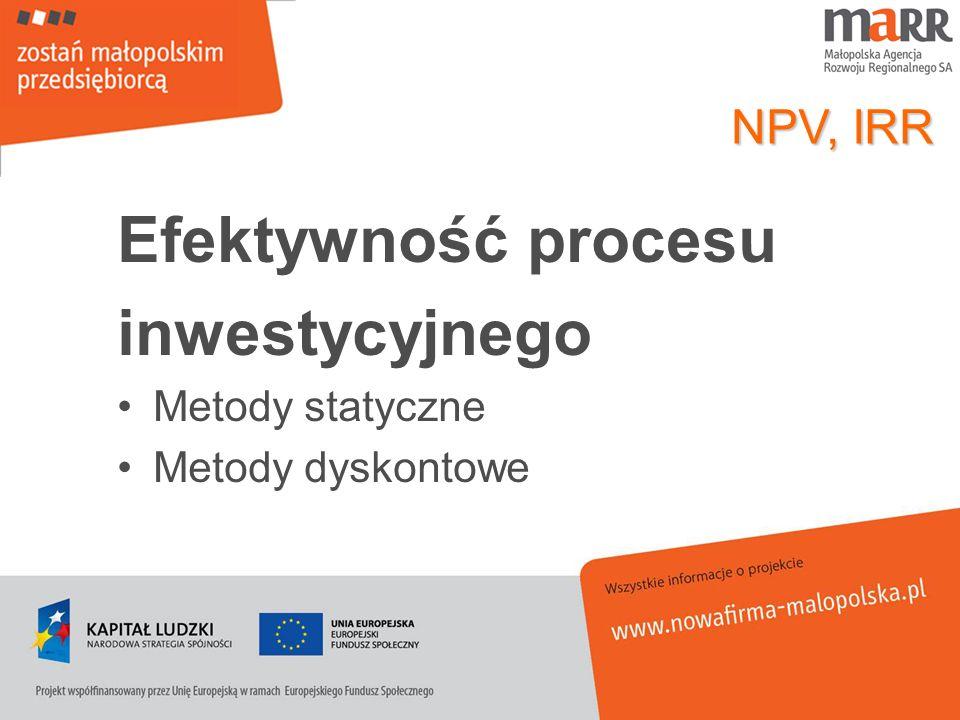 Efektywność procesu inwestycyjnego NPV, IRR Metody statyczne