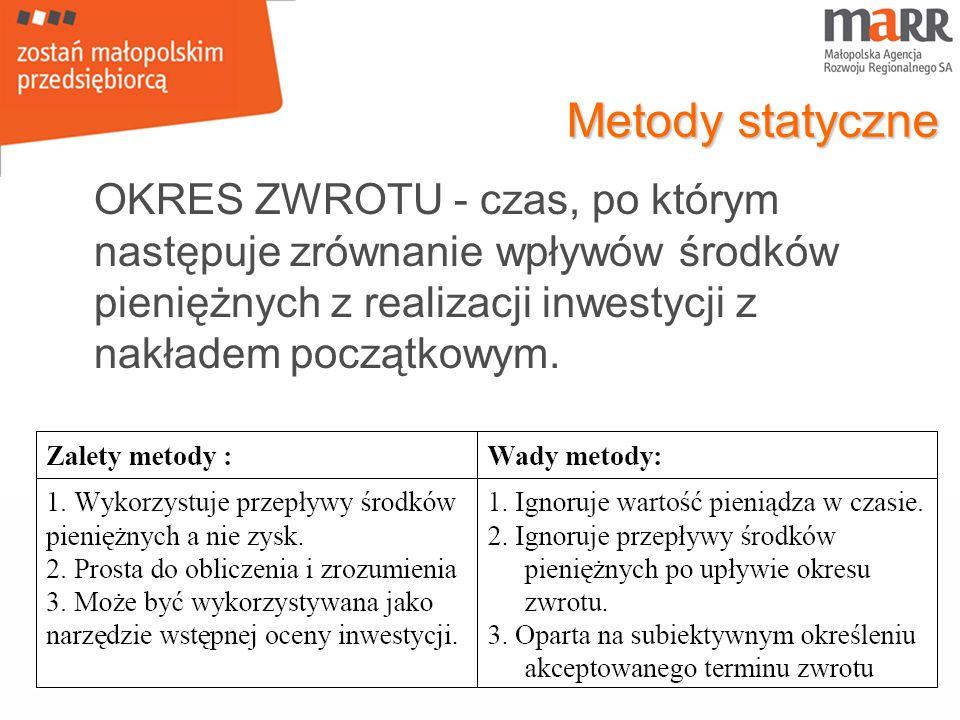 Metody statyczne OKRES ZWROTU - czas, po którym następuje zrównanie wpływów środków pieniężnych z realizacji inwestycji z nakładem początkowym.