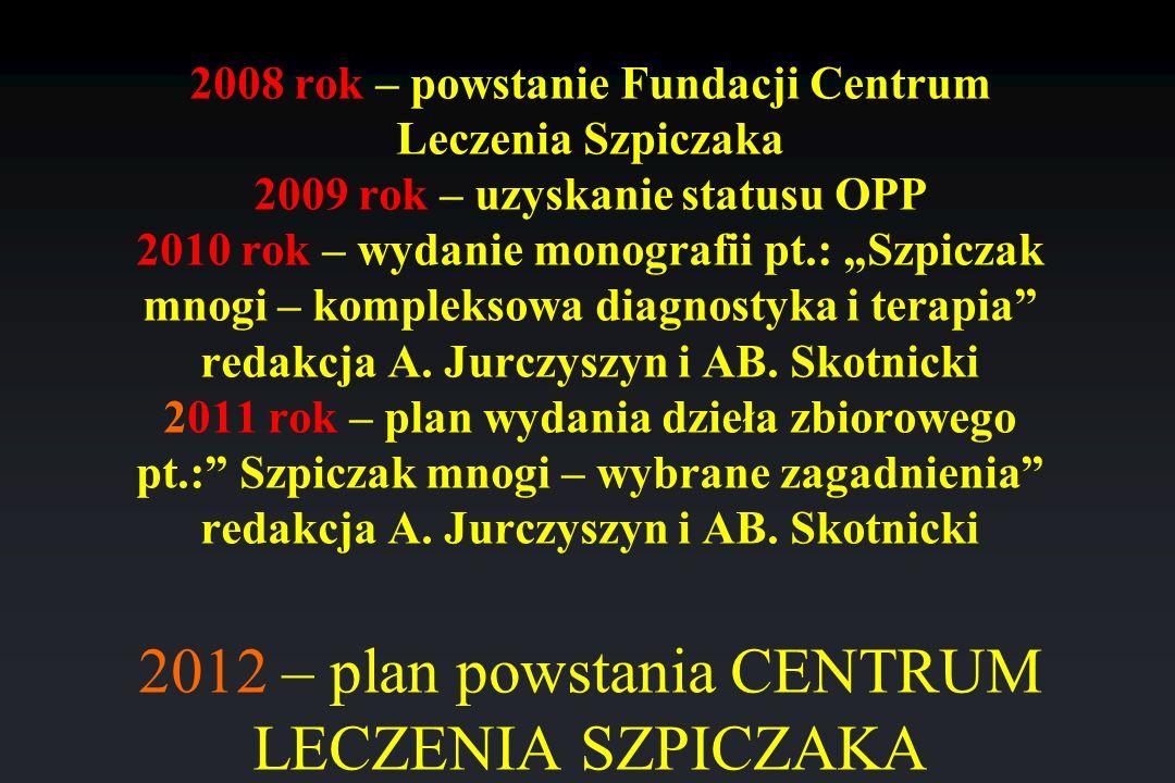 """2008 rok – powstanie Fundacji Centrum Leczenia Szpiczaka 2009 rok – uzyskanie statusu OPP 2010 rok – wydanie monografii pt.: """"Szpiczak mnogi – kompleksowa diagnostyka i terapia redakcja A."""