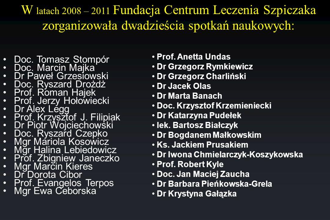 W latach 2008 – 2011 Fundacja Centrum Leczenia Szpiczaka zorganizowała dwadzieścia spotkań naukowych: