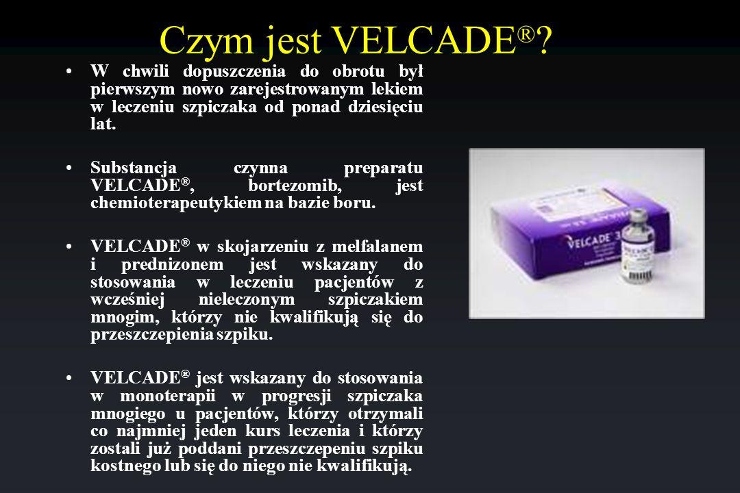 Czym jest VELCADE® W chwili dopuszczenia do obrotu był pierwszym nowo zarejestrowanym lekiem w leczeniu szpiczaka od ponad dziesięciu lat.