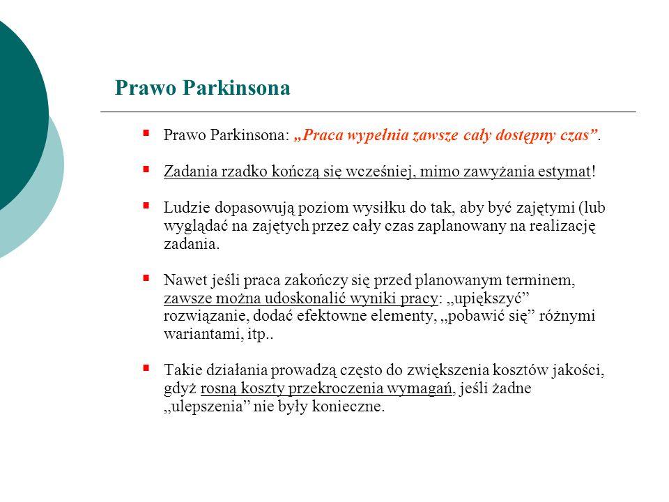 """Prawo ParkinsonaPrawo Parkinsona: """"Praca wypełnia zawsze cały dostępny czas . Zadania rzadko kończą się wcześniej, mimo zawyżania estymat!"""