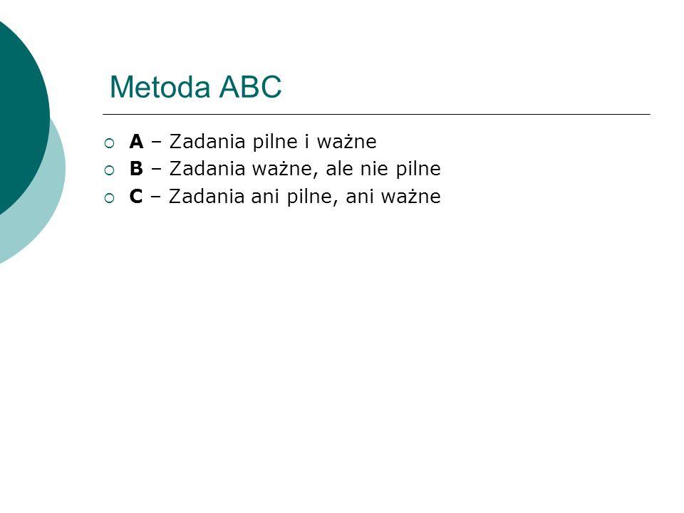 Metoda ABC A – Zadania pilne i ważne B – Zadania ważne, ale nie pilne