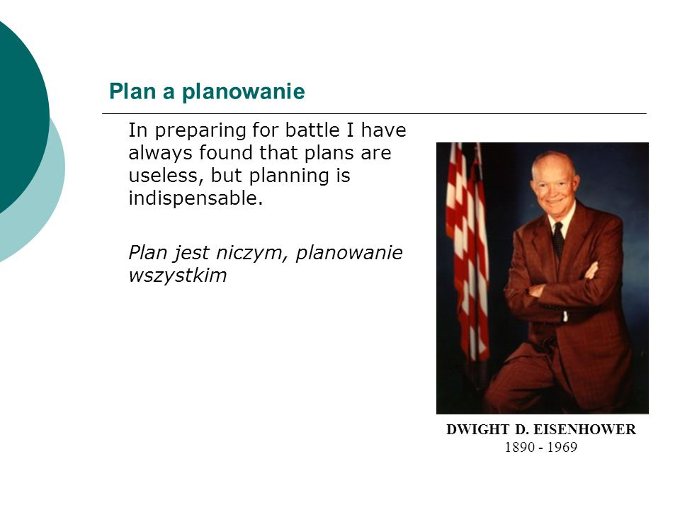Plan a planowanie In preparing for battle I have always found that plans are useless, but planning is indispensable.