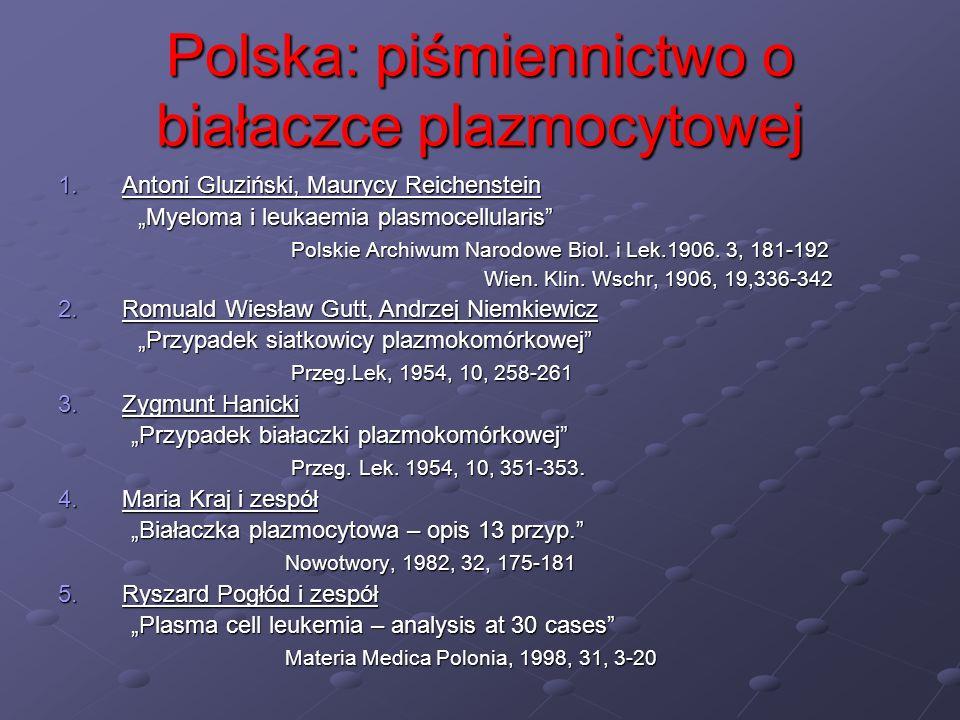 Polska: piśmiennictwo o białaczce plazmocytowej